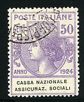 Cassa Naz. Assic. Sociali 50 c. (28). Colla.